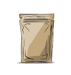 Bag packaging sketch for your design vector image