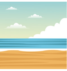 Beach sea sand clouds vector