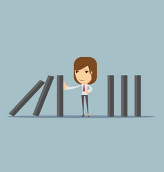 Businesswoman stopping the domino effect vector