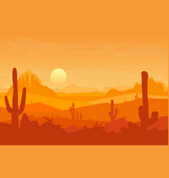 cartoon desert with silhouettes cactus and vector image vector image