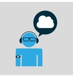 Cloud man technology wearable vector