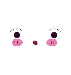 Colorful facial expression kawaii surprised vector