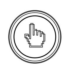 Contour emblem mouse hand cursor icon vector