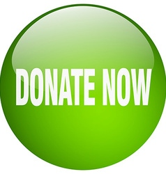 Donate now green round gel isolated push button vector