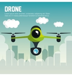 Drone with camera fly city graphic vector