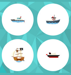 flat icon boat set of cargo sailboat transport vector image vector image