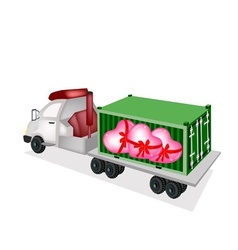 Flatbed trailer loading lovely hearts vector