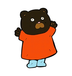 funny comic cartoon black bear vector image
