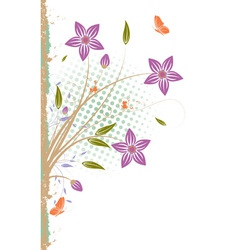 Grunge floral background isolated on white vector image vector image