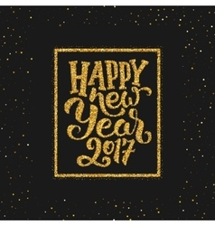 Happy new year 2017 greetings on gold background vector
