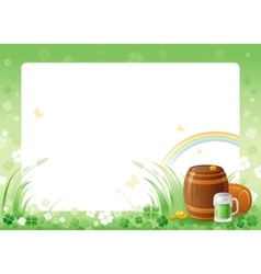 Happy saint patrick day green beer barrel border vector