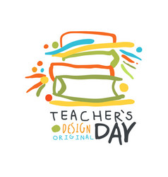 happy teachers day greeting card with educational vector image vector image