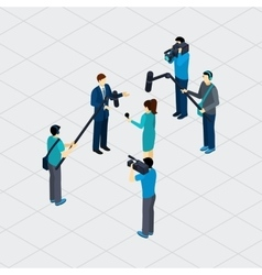 Journalist profession teamwork isometric banner vector