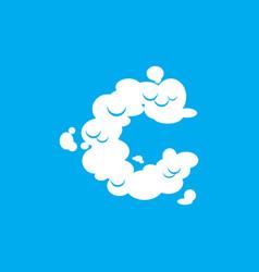 letter c cloud font symbol white alphabet sign on vector image vector image