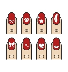 Manicure with nail art icons set vector