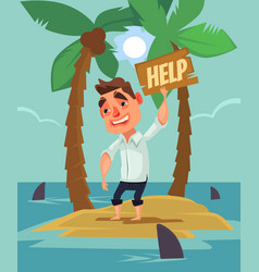office worker man character lost desert island vector image vector image
