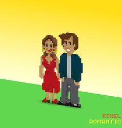 Pixel romantic couple vector image vector image