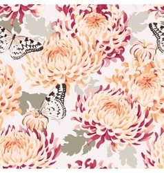 Seamless japanese chrysanthemum and butterfly vector image
