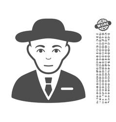 Secret service agent icon with bonus vector