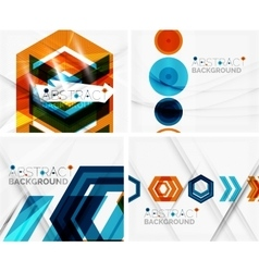Set of abstract geometric backgrounds Waves vector image