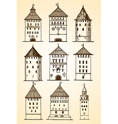 set of towers sketch vector image vector image