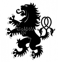 Silhouette of heraldic lion 3 vector