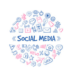 Social media network hand drawn infographic vector