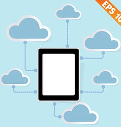 Tablet pc with cloud computing - - eps10 vector
