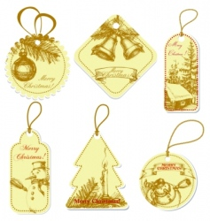 vintage christmas tags vector image vector image