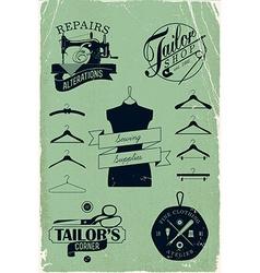 Vintage Tailor Shop Icon Set vector image vector image