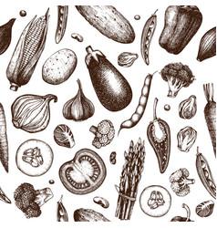 Vintage vegetables background vector