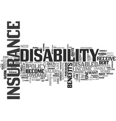 why should you get disability insurance text word vector image vector image
