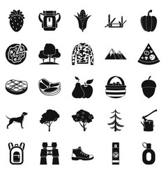 Wildlife icons set simple style vector