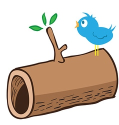 Wood log and a bird on it vector