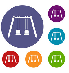 Wooden swings hanging on ropes icons set vector