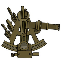 Historic brass sextant vector image