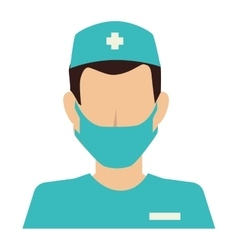 Nurse silhouette man mask design vector