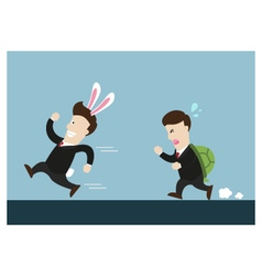 Rabbit businessman and turtle one are in running vector