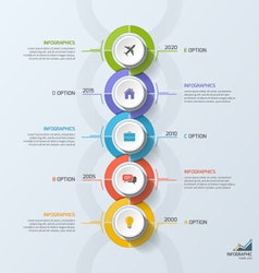 Timeline business vertical infographic template 5 vector