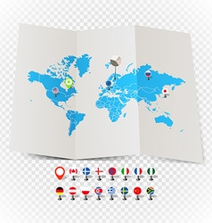 World map on old map and flags of different vector