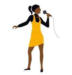Woman sing into microphone vector