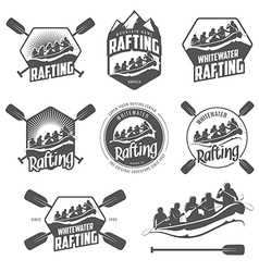 Set of vintage whitewater rafting labels vector