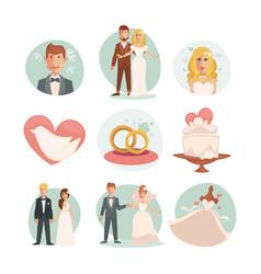 Wedding bride and groom wedding vector