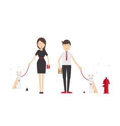 Young man and woman walking a dog vector