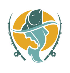 fishing time logo template with fish and hooks vector image