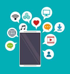 mobile applications bubbles speech social media vector image