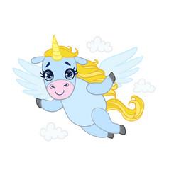 cartoon light blue lovely flying unicorn colorful vector image