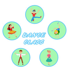 Children dancing round icons set vector