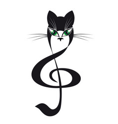 Cat treble clef stylized cat music vector