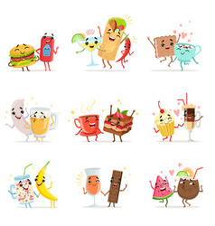 cute funny food characters having fun vector image